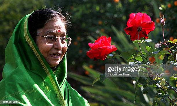 President Pratibha Patil in Mughal Garden at Rashtrapati Bhawan during a press preview of the garden on February 9 2012 in New Delhi India Mughal...