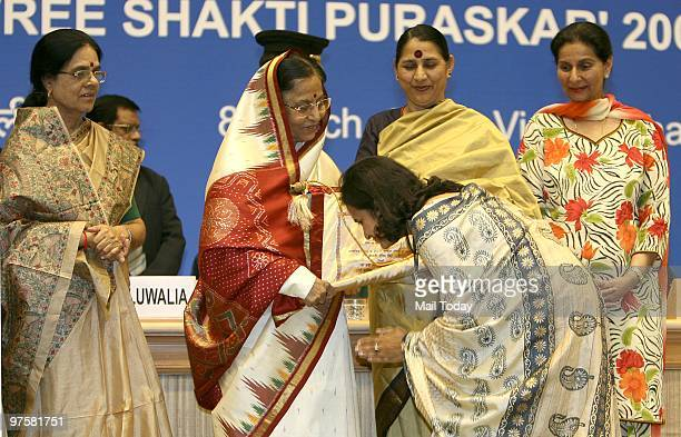 President Pratibha Patil Present Devi Ahilyabai Holker Award to Rashmi Singh at Stree Shakti Puruskar20082009 in New Delhi on March 8 2010Also Seen...