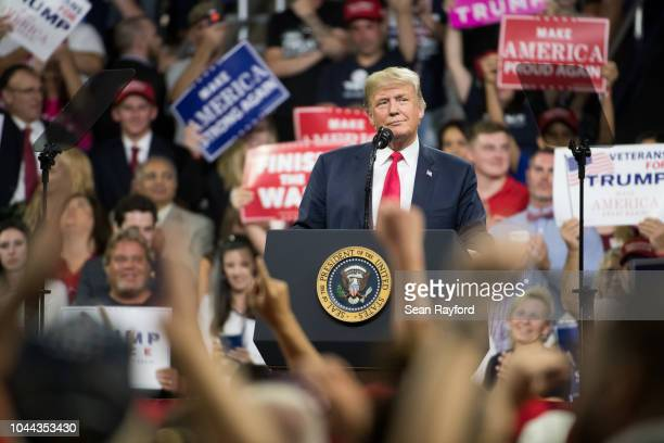 S President President Donald Trump speaks at a campaign rally for Senate candidate US Rep Marsha Blackburn at Freedom Hall on October 1 2018 in...