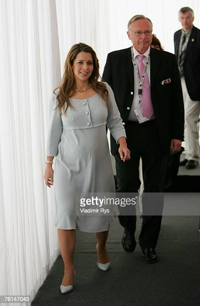 President princess Haya Bint Al Hussein arrives at a press conference during the FEI European Jumping Championship at the MVV Reitstadion on August...