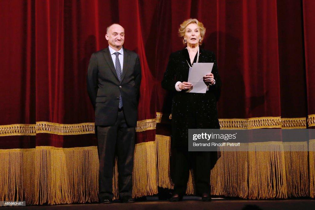 President Professor Thibault Moreau and organizer of the evening Myriam Feune de Colombi present 'Un Temps De Chien' - Theater Gala Premiere to Benefit ARSEP Foundation. Held at Theatre Montparnasse on January 30, 2014 in Paris, France.