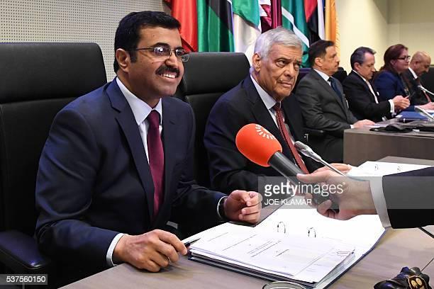 OPEC president Quatar's Mohammed Saleh AlSada and acting secretary general Abdallah Salem elBadri attend the 169th meeting of the Organization of the...