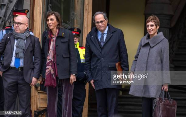 President Quim Torra accompanied by his wife Carola Miró and lawyers before entering to testifying to the Superior Court of Justice of Catalonia The...