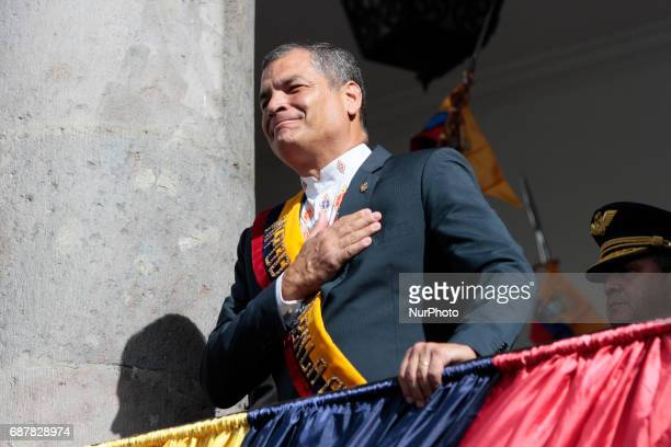 President Rafael Correa says goodbye from the balcony of the Carondelet Palace in Quito Wednesday May 24 2017 After 10 years of rule Rafael Correa...