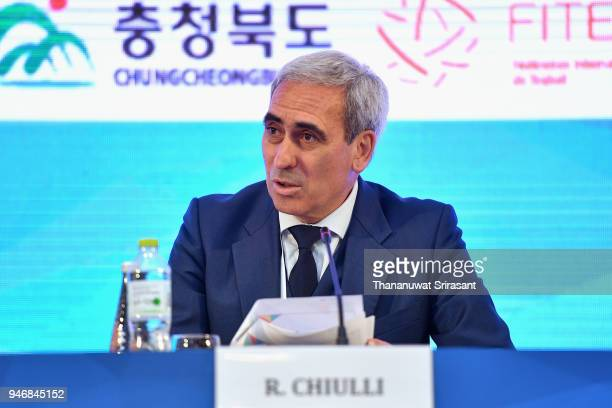 President Raffaele Chiulli addresses during the ARISF General Assembly on day two of the SportAccord at Centara Grand Bangkok Convention Centre on...