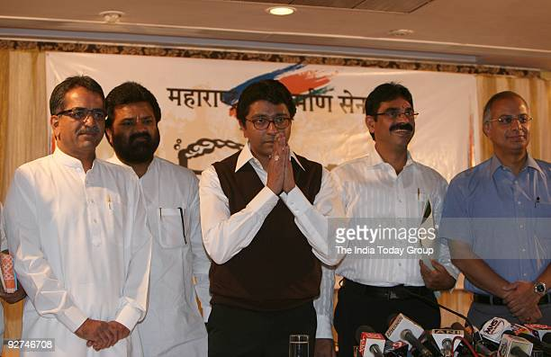 MNS president Raj Thackeray along with Sishir Shinde Vasat Nivrutti Gite Bala Nandgaonkar and Nitin Sardesai at a press conference in Mumbai on...