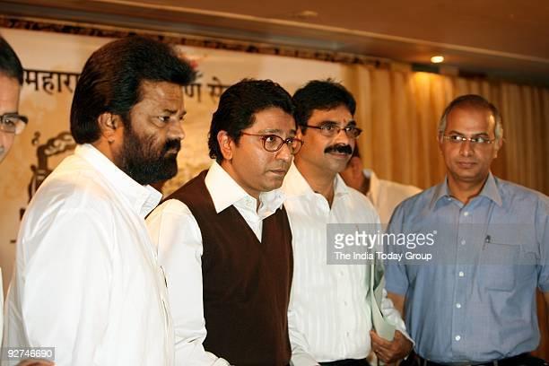 MNS president Raj Thackeray along with Vasat Nivrutti Gite Bala Nandgaonkar and Nitin Sardesai at a press conference in Mumbai on Monday November 2...