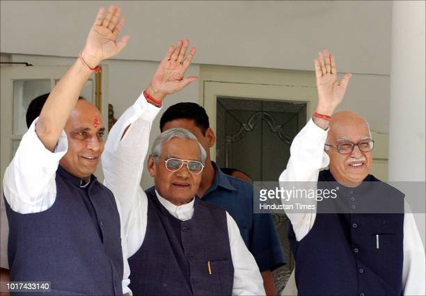 Independent Presidential candidate Bhairon Singh Shekhawat along with former Prime Minister Atal Bihari Vajpayee BJP leader L K Advani and others...