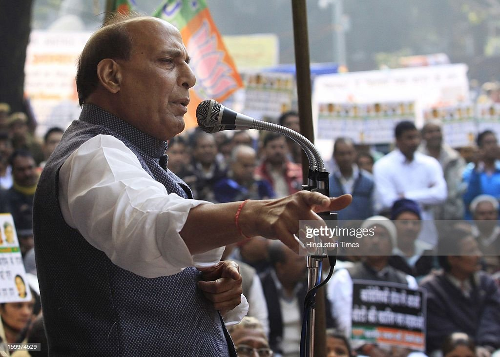 BJP president Rajnath Singh speaks during a Dharna Protest against the Home Minister Sushil Kumar Shinde's Hindu terror remarks.at the Jantar Mantar on January 24, 2012 in New Delhi, India. Home minister Shinde has alleged that BJP and RSS were behind Hindu terror during recently held Congress Conclave at Jaipur.
