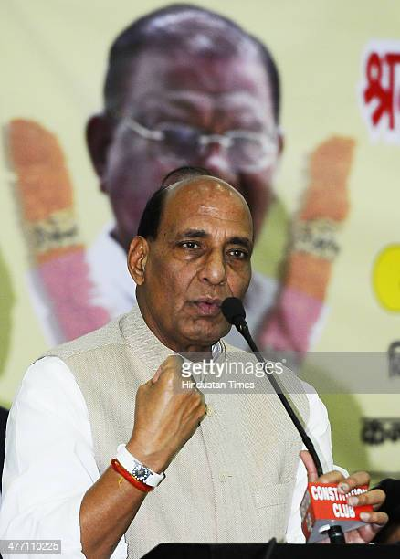 President Rajnath Singh speaks during a prayer meeting at Constitution Club for former BJP president Bangaru Laxman on March 7 2014 in New Delhi...