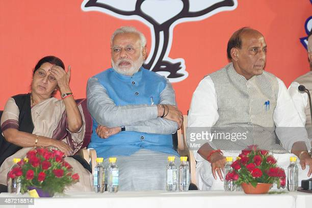 BJP president Rajnath Singh with Prime Minister candidate Narendra Modi and Sushma Swaraj during the victory celebrations in General elections 2014...