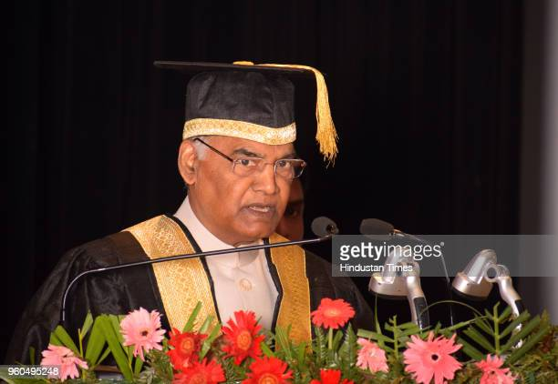 President Ram Nath Kovind addresses during the 7th convocation of Indian Institute of Science Education and Research on May 20 2018 in Mohali India...