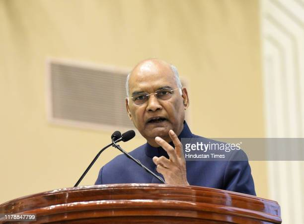 President Ram Nath Kovind addresses the audience during the first National Corporate Social Responsibility Awards to select companies for their...