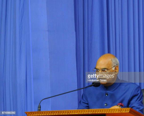 President Ram Nath Kovind addressing a select gathering after released the holy book Bhagwad Geeta Hindi version God talks with Arjuna in a function...