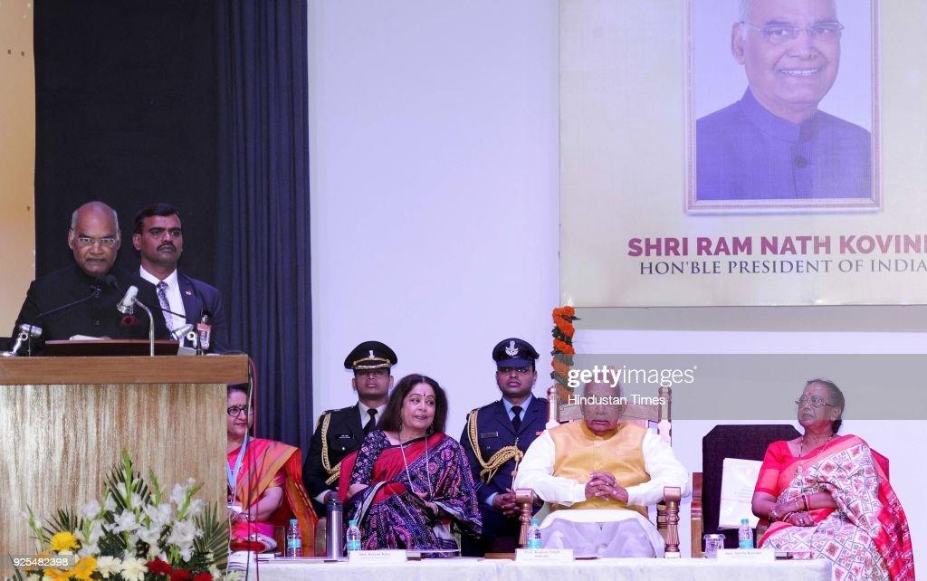 President Ram Nath Kovind addressing at the Golden Jubilee Celebrations of MCM DAV college for women at Sector36 on February 28 2018 in Chandigarh...