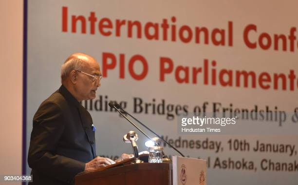 President Ram Nath Kovind addressing at the inauguration of the International Conference of PIO Parliamentarians At Hotel Ashoka on January 10 2018...