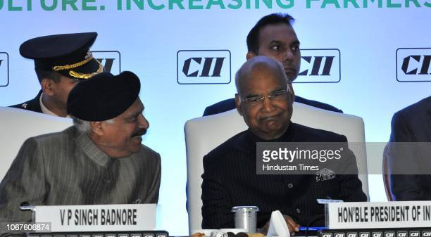 President Ram Nath Kovind along with Punjab Governor VP Singh Badnore and others during an inaugural session of CII Agro Tech India 2018 at parade...