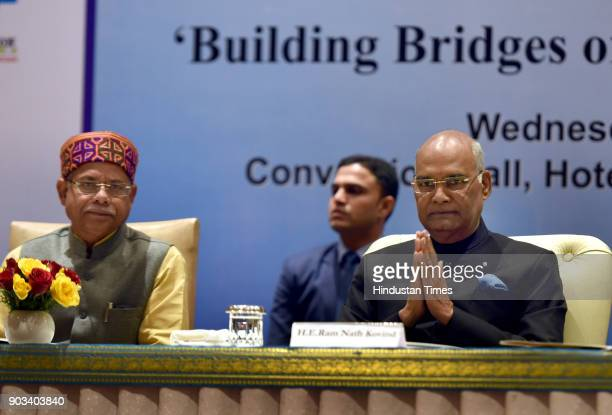President Ram Nath Kovind and Minister of State for Finance Shiv Pratap Shukla during the inauguration of the International Conference of PIO...