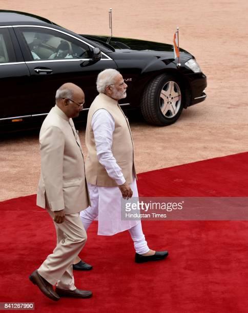 President Ram Nath Kovind and Prime Minister Narendra Modi during the ceremonial reception of Mrs Doris Leuthard President of The Swiss Confederation...