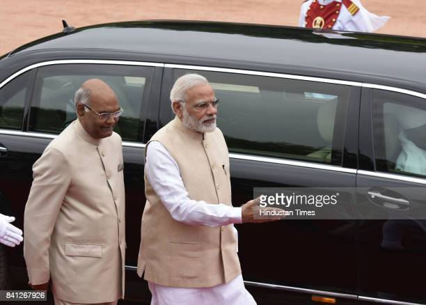 President Ram Nath Kovind and Prime Minister Narendra Modi President of the Swiss Confederation Doris Leuthard who is on threeday visit to India...