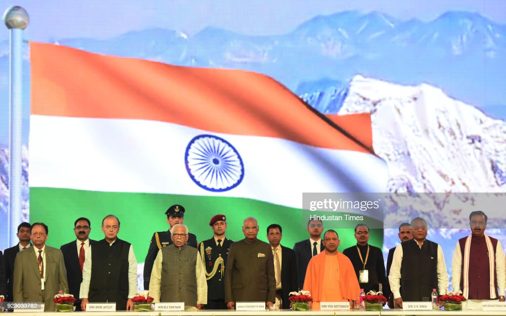 President Ram Nath Kovind (C) attends the closing ceremony of UP Investors Summit along with UP CM Yogi Adityanath (3R), Governor Ram Naik (3L), Finance minister Arun Jaitley (2L), foreign state minister Gen V.K Singh (2R), deputy CM of UP Keshav Prasad Maurya (R) and Former Prime Minister of Mauritius Anerood Jugnauth at Indira Gandhi Pratishthan on February 21, 2018 in Lucknow, India.