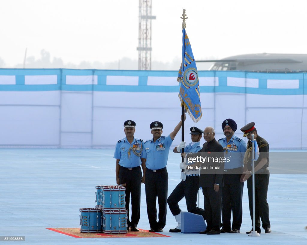 President Ram Nath Kovind awards standards to 223 Squardron air force at Adampur air force station on November 16 2017 near Jalandhar India President.