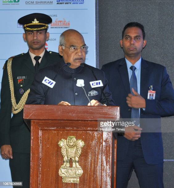 President Ram Nath Kovind during an inaugural session of CII Agro Tech India 2018 at parade ground in sector 17 on December 1 2018 in Chandigarh India