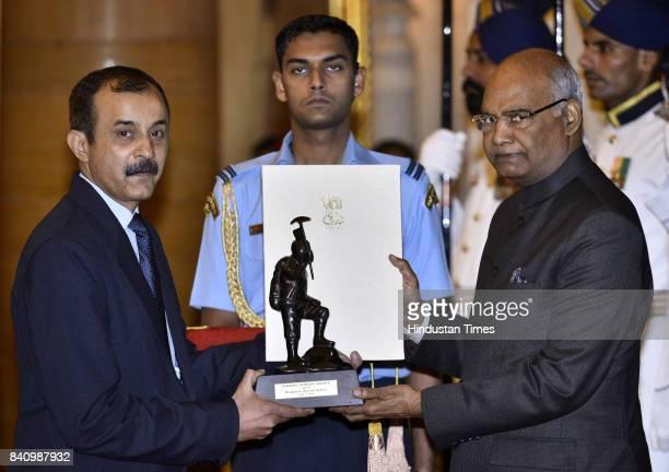 President Ram Nath Kovind gave away the prestigious Tenzing Norgay National Adventure award 2016 for to Mountaineer Ashok Abbey at Rashtrapati Bhawan...