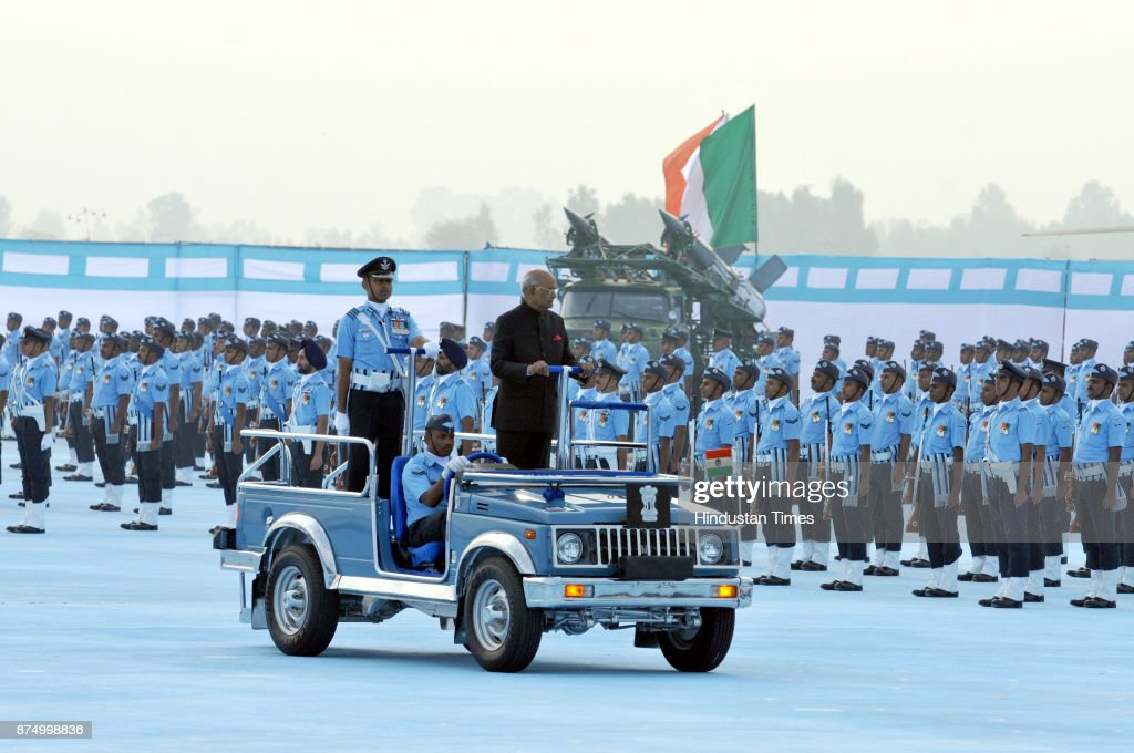 President Ram Nath Kovind inspecting the guard of honour at Adampur air force station on November 16 2017 near Jalandhar India President Ram Nath...