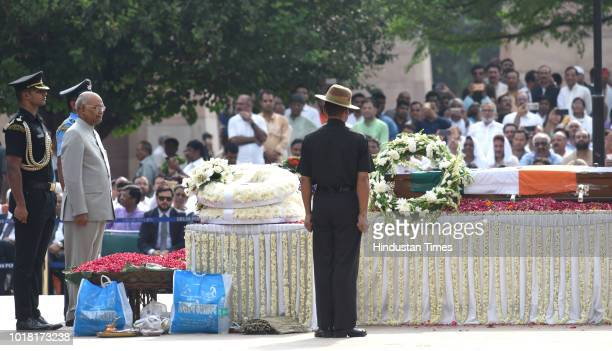 President Ram Nath Kovind pays his final respects during the cremation ceremony of former Prime Minister Atal Bihari Vajpayee at Rashtriya Smriti...