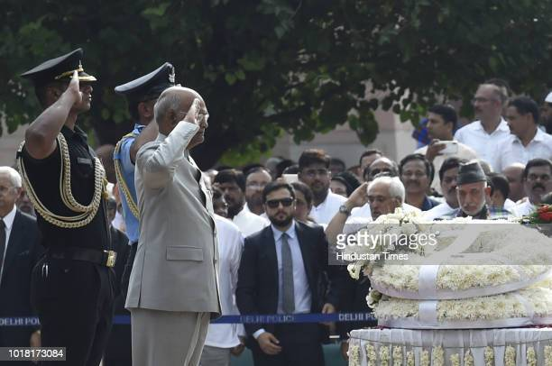 President Ram Nath Kovind pays his last respect during the cremation ceremony of former Prime Minister Atal Bihari Vajpayeeat Rashtriya Smriti Sthal...