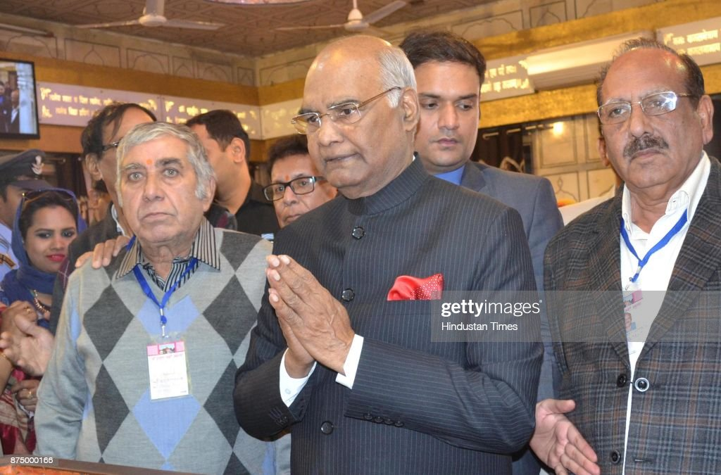 President Ram Nath Kovind pays obeisance at Durgiana Temple on November 16 2017 in Amritsar India