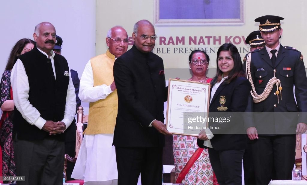 President Ram Nath Kovind presenting memento to student at the Golden Jubilee Celebrations of MCM DAV college for women at Sector36 on February 28...
