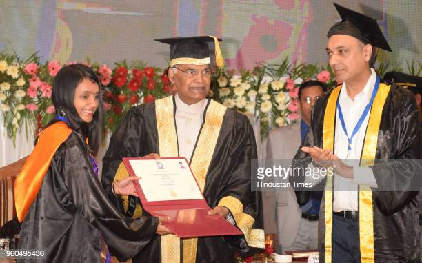President Ram Nath Kovind presents certificate of Academic Excellence to Solani Rose during the 7th convocation of Indian Institute of Science...