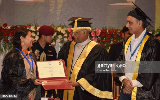 President Ram Nath Kovind presents certificate of Academic Excellence to Divya Gupta during the 7th convocation of Indian Institute of Science...