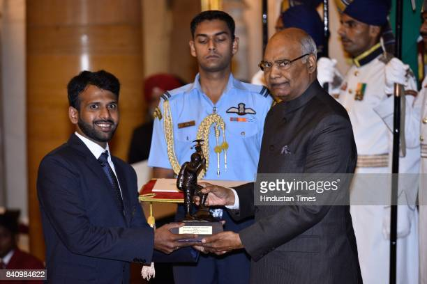 President Ram Nath Kovind presents Tenzing Norgay National Adventure Award 2017 to More Rohan Dattatreyat the National Sports at a function at...