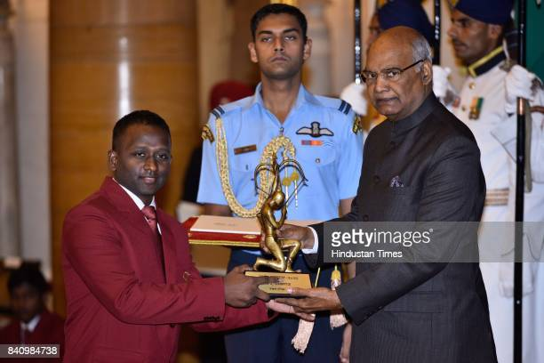 President Ram Nath Kovind presents the Arjuna Award 2017 to A Amalraj for Table Tennis in a glittering ceremony at Rashtrapati Bhavan on August 29...
