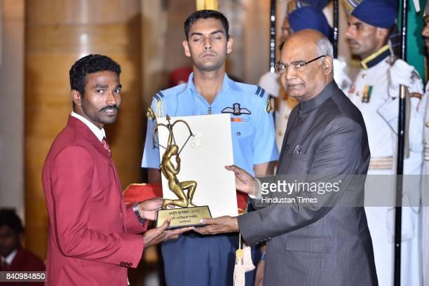 President Ram Nath Kovind presents the Arjuna Award 2017 to Arokia Rajiv for Athletics in a glittering ceremony at Rashtrapati Bhavan on August 29...