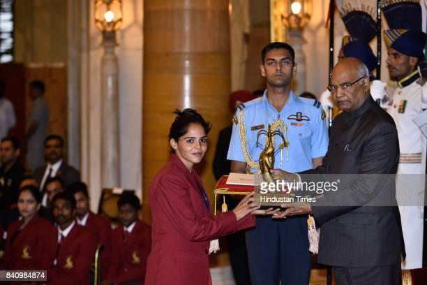 President Ram Nath Kovind presents the Arjuna Award 2017 to Khushbir Kaur for Athletics in a glittering ceremony at Rashtrapati Bhavan on August 29...