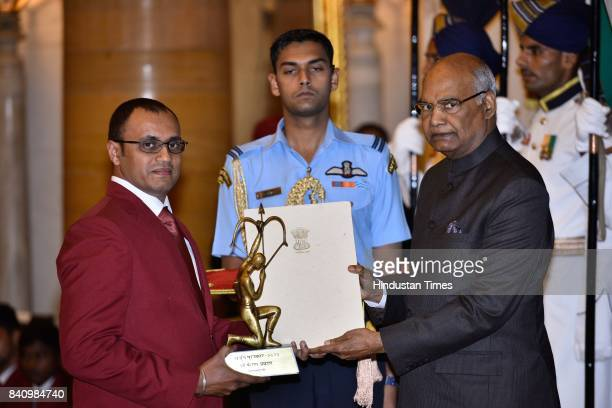 President Ram Nath Kovind presents the Arjuna Award 2017 to PN Prakash for Shooting in a glittering ceremony at Rashtrapati Bhavan on August 29 2017...