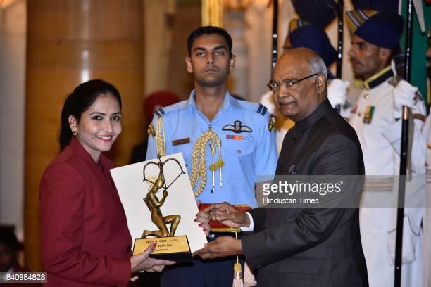 President Ram Nath Kovind presents the Arjuna Award 2017 to Prashanti Singh for Basketball in a glittering ceremony at Rashtrapati Bhavan on August...