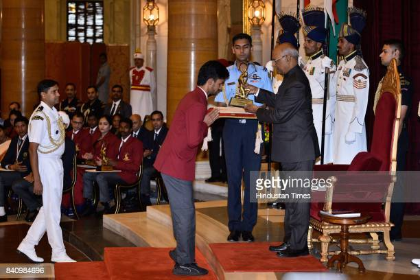 President Ram Nath Kovind presents the Arjuna Award 2017 to Varun Singh Bhati for ParaAthletics in a glittering ceremony at Rashtrapati Bhavan on...