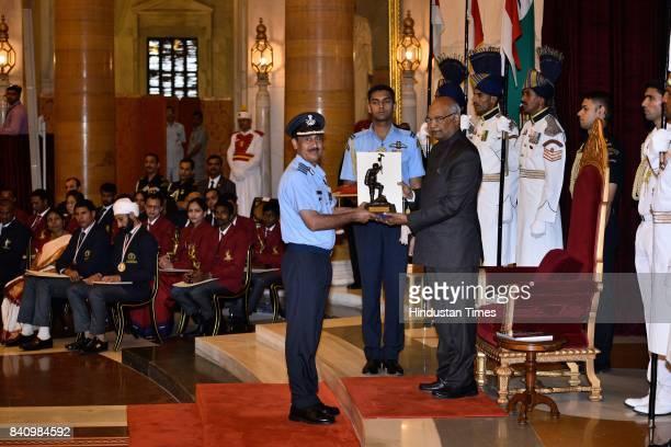 President Ram Nath Kovind presents the Tenzing Norgay National Adventure Award 2017 to Ved Prakash Sharma Life Time Achievement in a glittering...