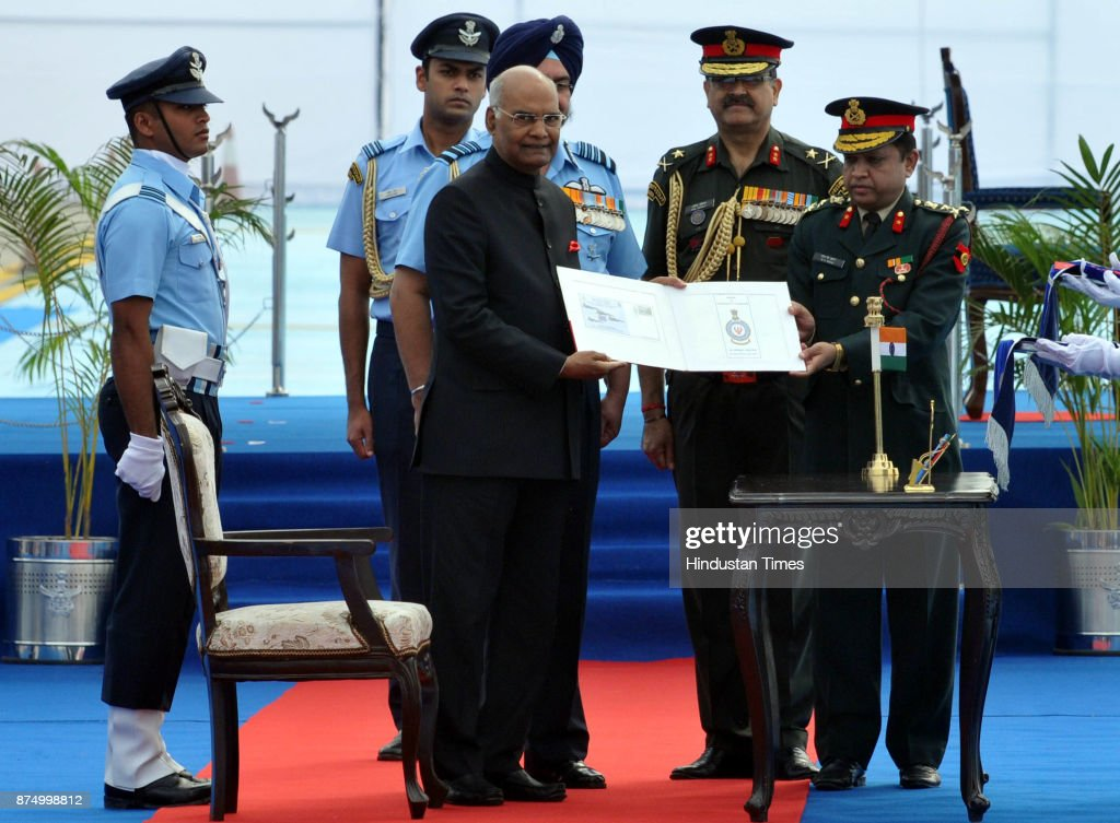President Ram Nath Kovind releasing first day cover of 223 squardron and 117 helicopter unit at Adampur air force station on November 16 2017 near...