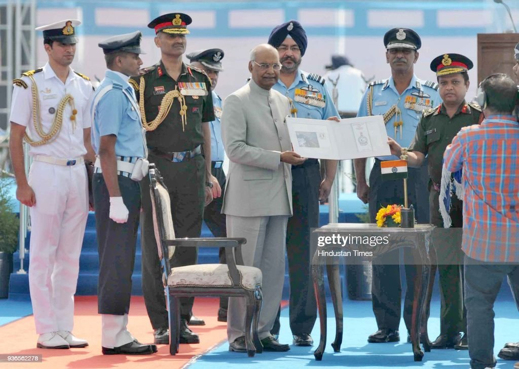 President Ram Nath Kovind releasing first day cover of 230 Signal Unit during an Air Show organised at Halwara Air Force Station on March 22 2018 in..