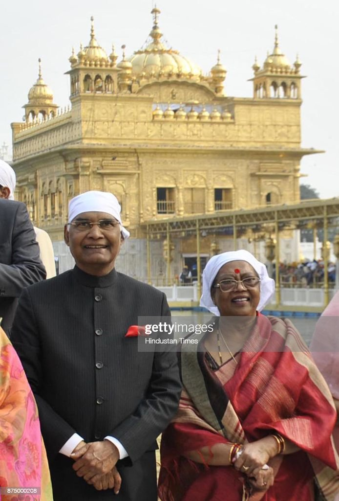 President Ram Nath Kovind with his wife Savita Kovind paying obeisance at Golden Temple on November 16 2017 in Amritsar India