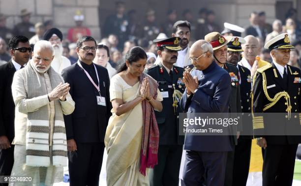 President Ram Nath Kovind with Prime Minister Narendra Modi and Vice President Venkaiah Naidu after paying homage to Mahatma Gandhi on his 70th death...