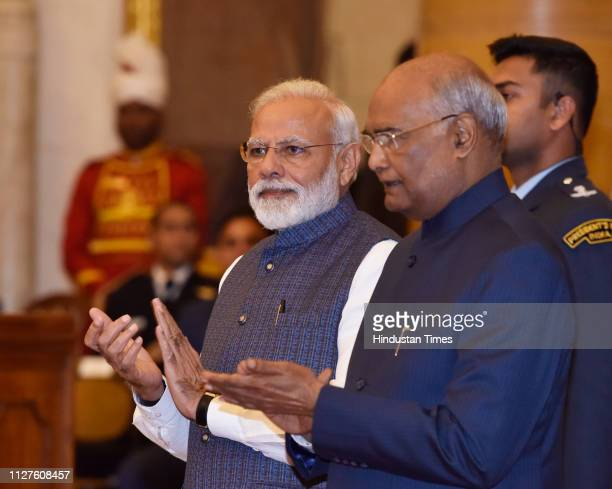 President Ram Nath Kovind with Prime Minister Narendra Modi during the Gandhi Peace Prize awards ceremony at Rashtrapati Bhawan on February 26 2019...
