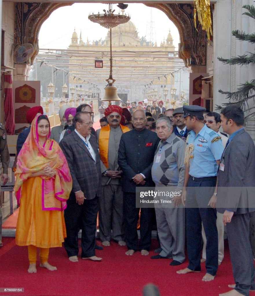 President Ram Nath Kovind with Punjab governor VP Singh Badnore and Union minister for food processing industries Harsimrat Kaur Badal coming out...