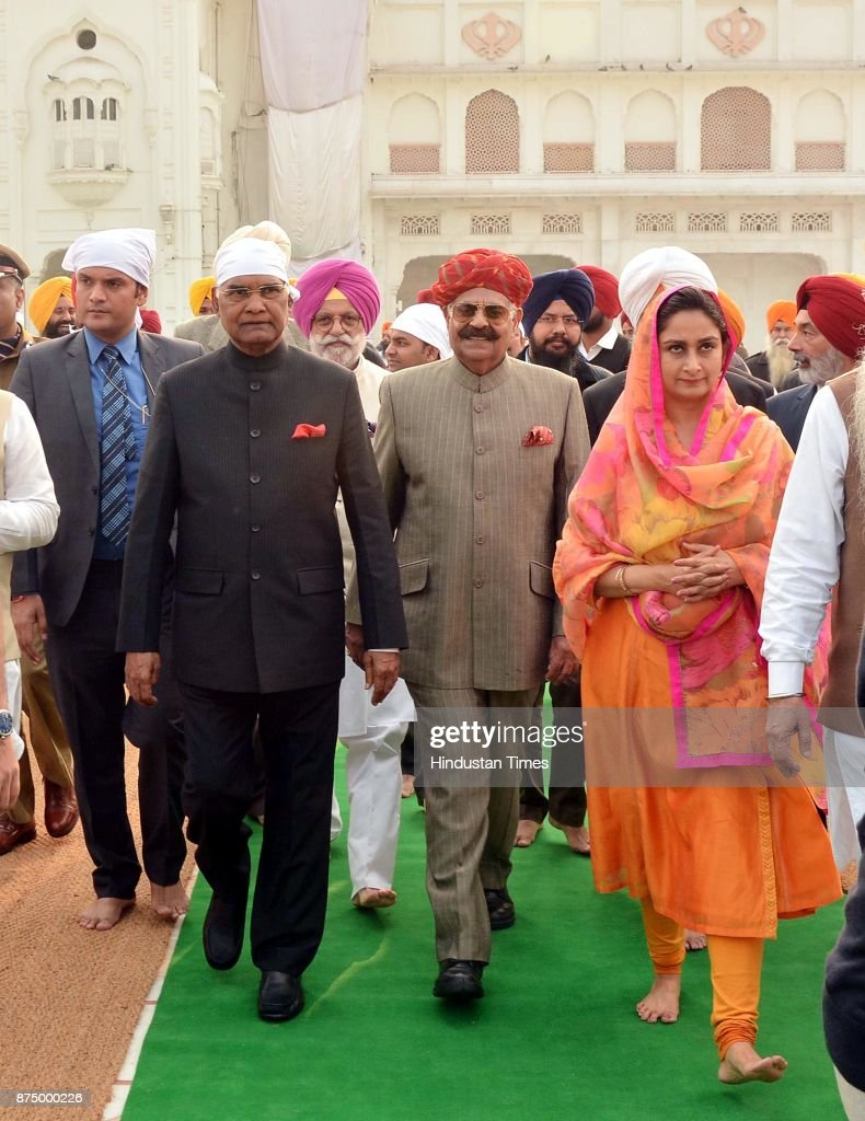 President Ram Nath Kovind with Punjab governor VP Singh Badnore and Union minister for food processing industries Harsimrat Kaur Badal coming from...